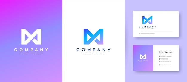 Flat minimal crown initial a, ma, and am logo with premium business card design   template