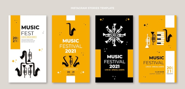Design piatto e minimale di storie di festival musicali