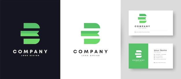 Flat minimal initial b logo with premium business card design   template