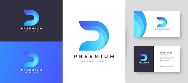 회사 비즈니스를위한 프리미엄 명함 디자인 템플릿이있는 평면 최소 초기 d dd 문자 로고