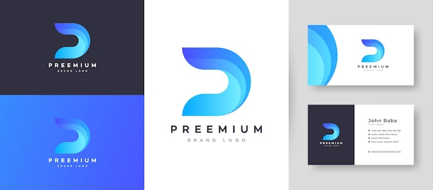 Flat minimal initial d dd letter logo with premium business card design  template for your company business Premium Vector