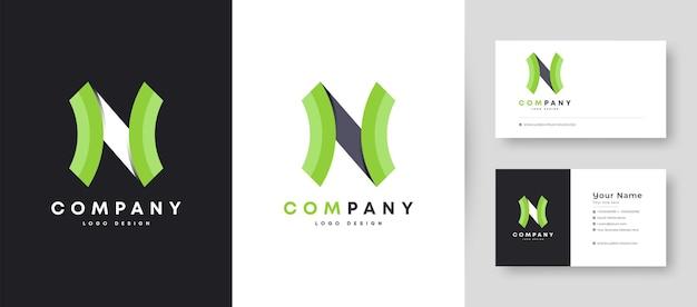 Flat minimal initial n logo with premium business card design   template Premium Vector