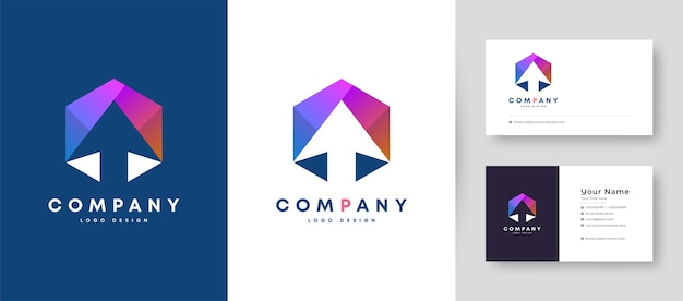 Flat minimal initial t and arrow logo with premium business card design   template