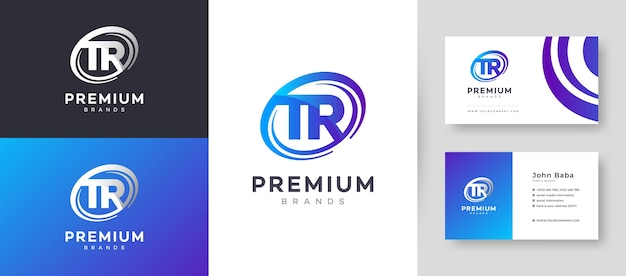 회사 비즈니스를위한 프리미엄 명함 디자인 템플릿이있는 평면 최소 초기 tr rt 편지 로고