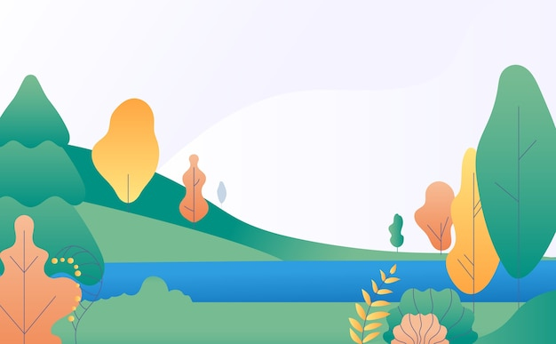 Плоский минимальный пейзаж. осенняя сцена природы с желтыми, зелеными деревьями и рекой. панорама падения с озера. иллюстрация осенний пейзаж сцены, стилизованные декорации