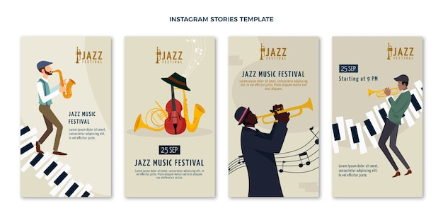 Flat minimal music festival ig stories Free Vector