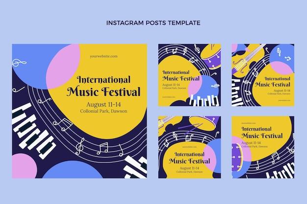 플랫 최소한의 음악 축제 인스타그램 게시물
