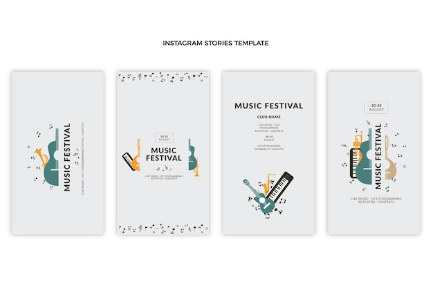 Flat minimal music festival instagram stories