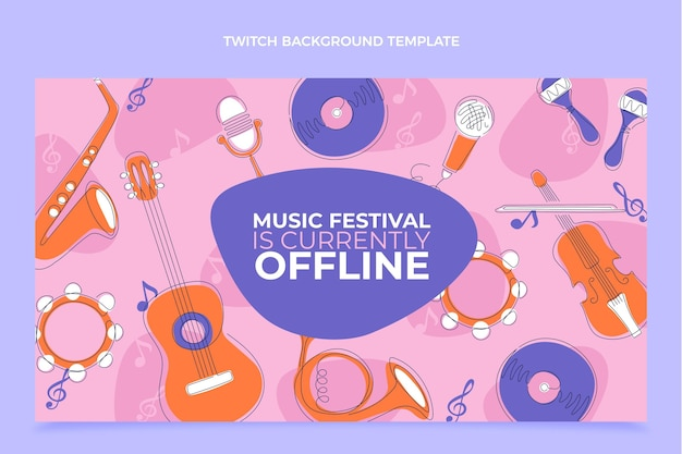 Flat minimal music festival twitch background