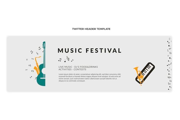 Intestazione twitter del festival musicale minimale piatto