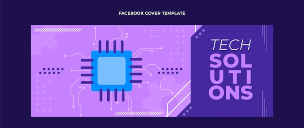 Flat minimal technology facebook cover template