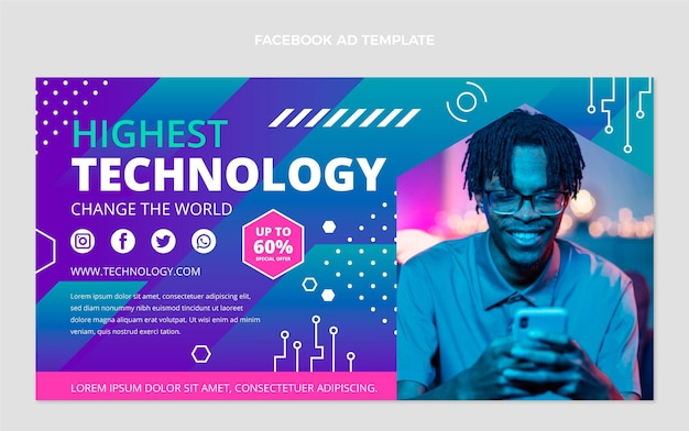 Flat minimal technology facebook template
