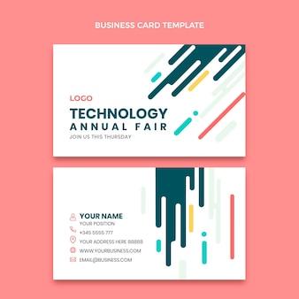 Плоский минимальный технологический горизонтальный шаблон визитной карточки