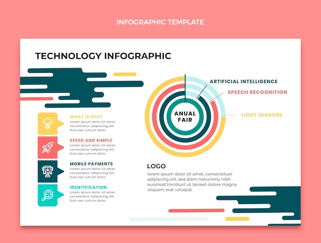 Flat minimal technology infographic template
