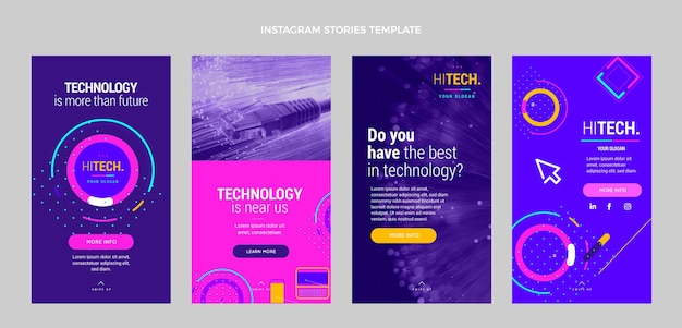 Storie di instagram con tecnologia minimale piatta