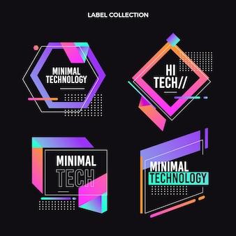 Collezione di etichette con tecnologia minimale piatta