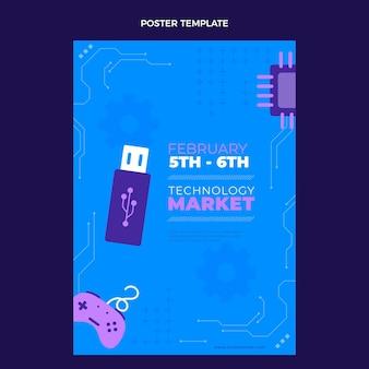 Modello di poster con tecnologia minimale piatta