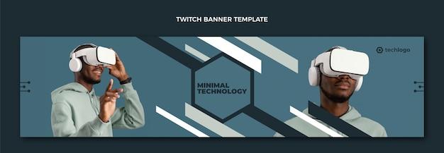 Плоский минимальный технологический баннер twitch Бесплатные векторы