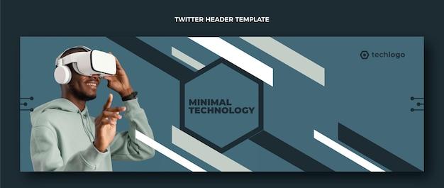 Intestazione twitter piatta con tecnologia minimale