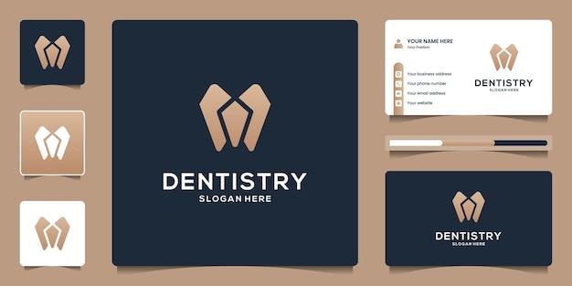 歯科医院のアイコンシンボルの名刺とフラットミニマリスト歯科ロゴテンプレート