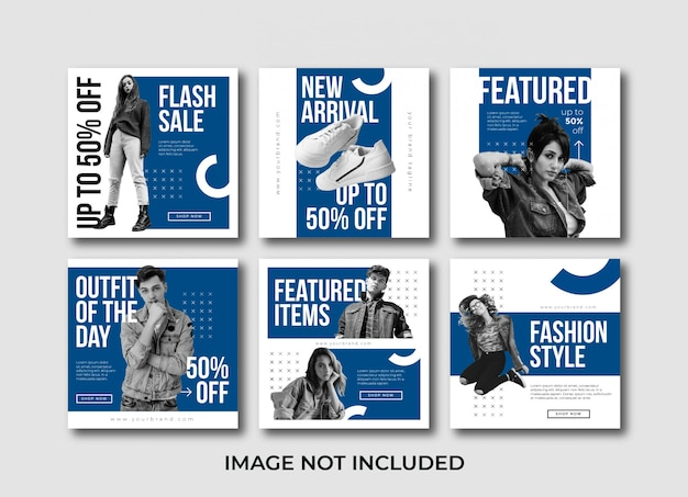 Flat minimalist fashion social media post template bundle