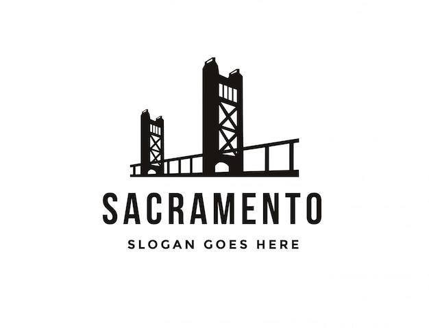 Flat minimalist sacramento bridge logo