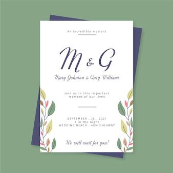 Modello di invito matrimonio piatto minimalista