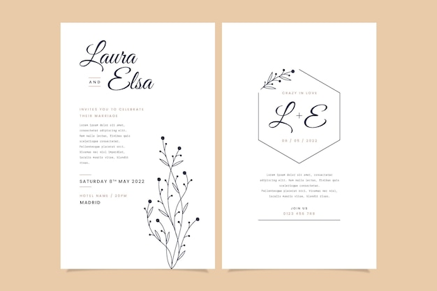Flat minimalist wedding invitation template