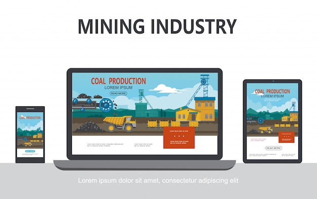 Flat mining industry adaptive design concept with industrial factory bucket wheel dump truck wagons transporting coal on tablet phone laptop screens isolated