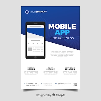Flat mobile app flyer template