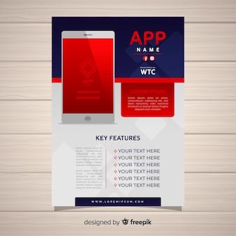 Flat mobile app poster