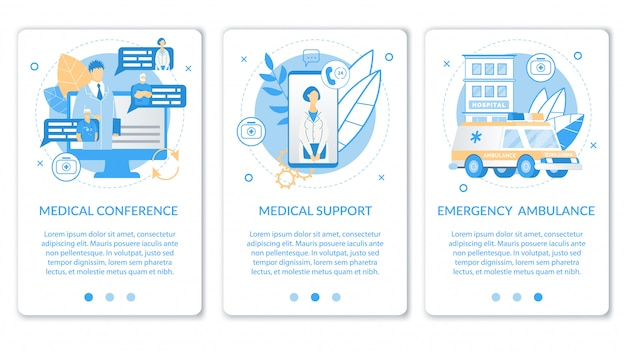 Flat mobile application set for medical service