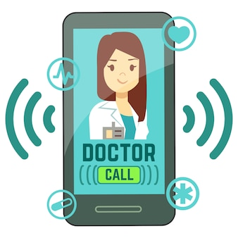 Flat mobile doctor, personalized medicine consultant on smartphone screen