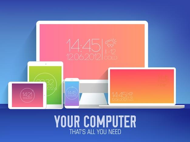 フラットモバイル電子デバイス