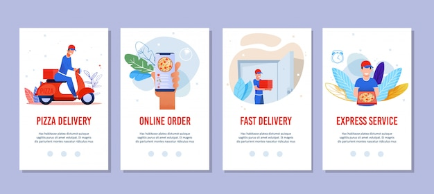 Flat mobile pages set for pizza delivery services
