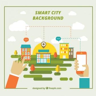 Flat modern background of city