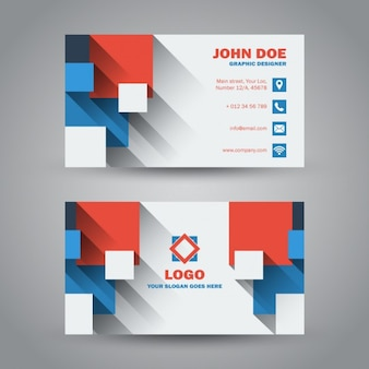 Flat modern business card with long shadow