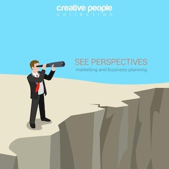 Плоский современный бизнес веб-шаблон концепции для бизнесмена