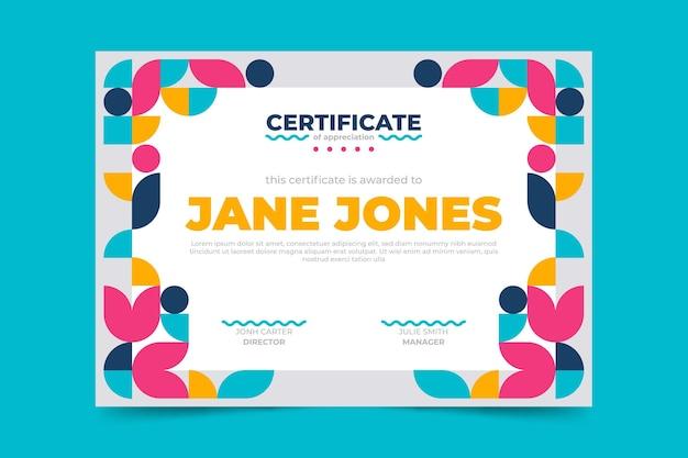 Certificato di apprezzamento piatto moderno