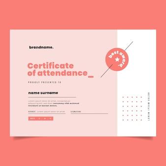 Certificato di frequenza piatto moderno