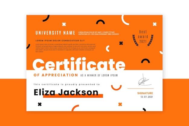 Плоский современный сертификат признательности