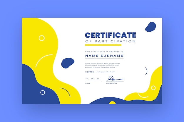 Certificato di partecipazione moderno piatto