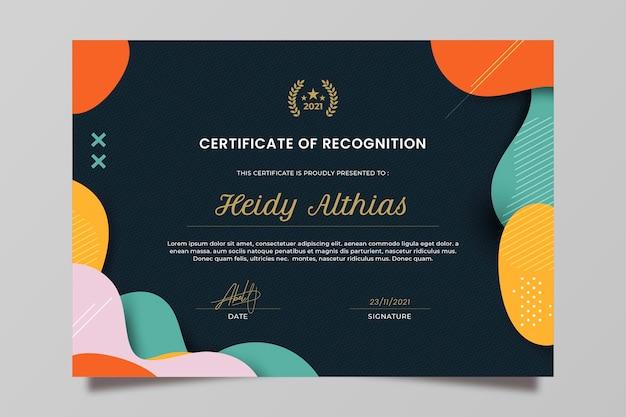 Certificato di riconoscimento piatto moderno