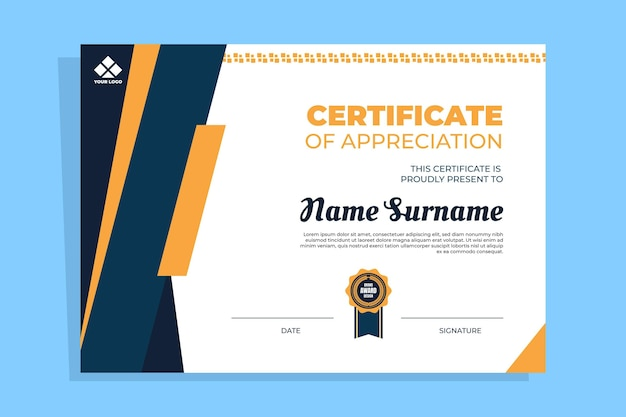 Flat modern certificate template Premium Vector