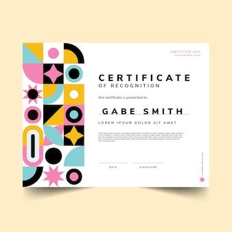 Modello di certificato piatto moderno