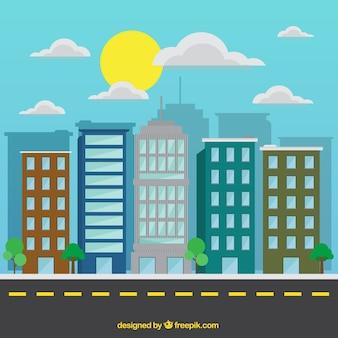 Плоский современный город в солнечный день фоне