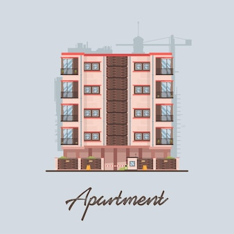 Flat modern colorful apartment building