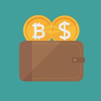 Плоский современный дизайн концепции технологии криптовалюты, обмена биткойнов, добычи биткойнов, мобильного банкинга