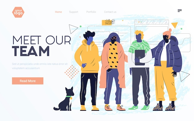 Flat modern design illustration of meet our team