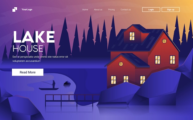 湖の家のフラットなモダンなデザインのイラスト